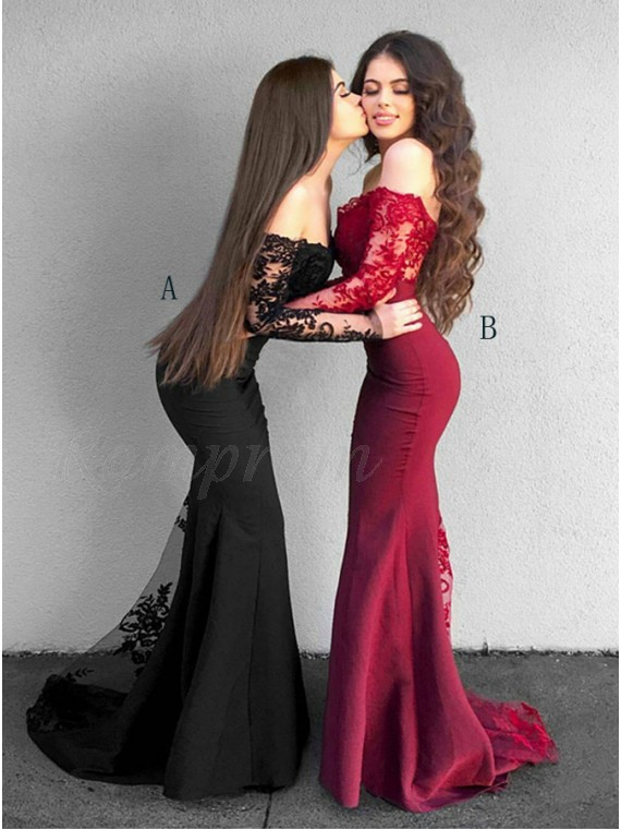 Mermaid Off The Shoulder Long Sleeves Black Prom Dress With Lace