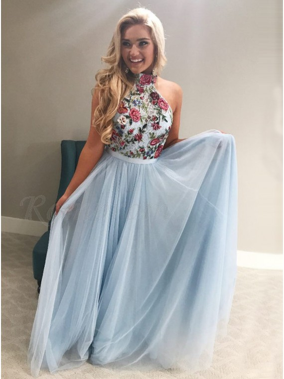 A-Line High Neck Floor-Length Light Blue Prom Dress with Appliques ... 3ae9469a3