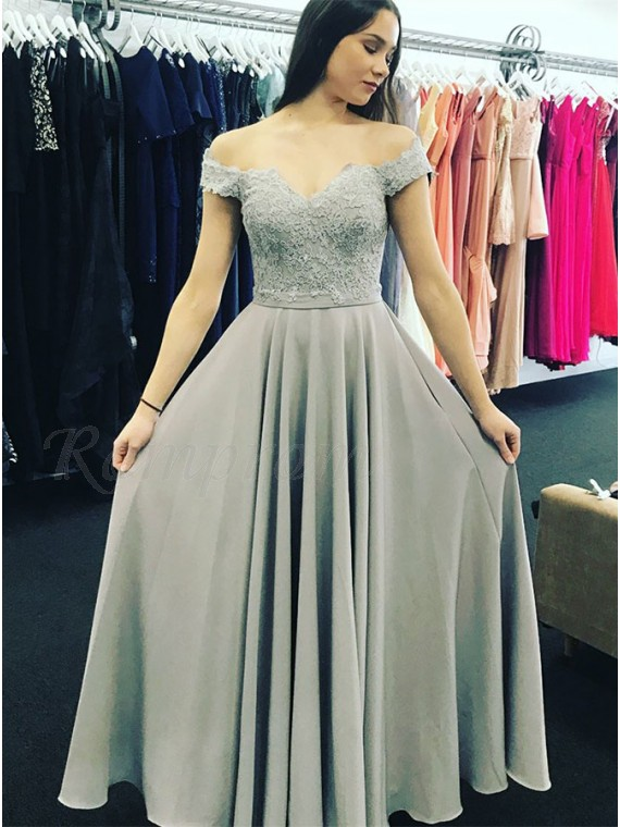 A-Line Off-the-Shoulder Floor-Length Grey Prom Dress with Appliques ...