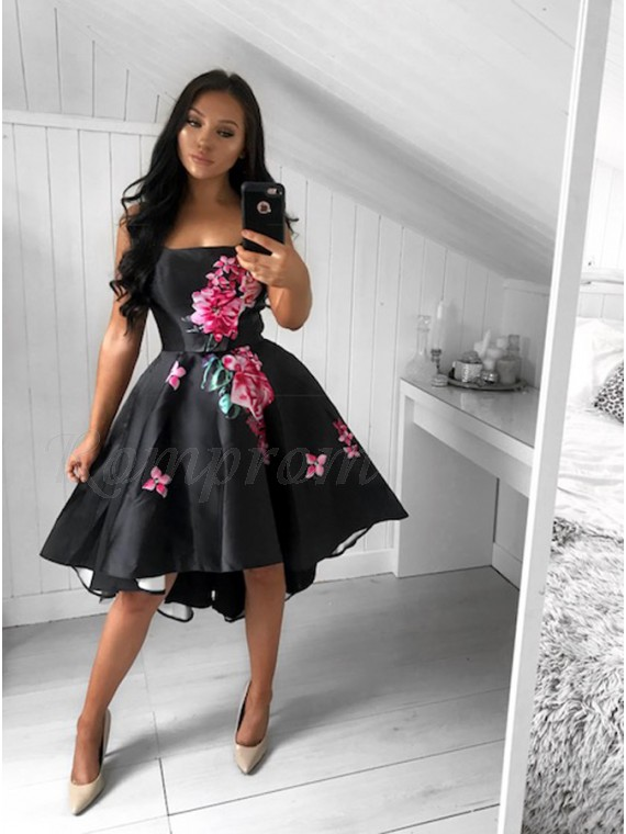 A-Line Strapless High Low Black Satin Printed Prom Dress - $139.99 ...