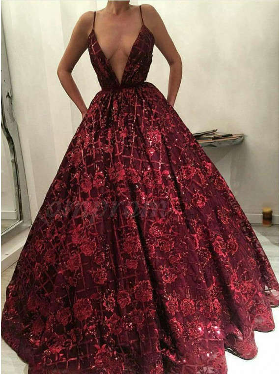 Ball Gown Deep V-Neck Floor-Length Dark Red Lace Prom Dress with Beading
