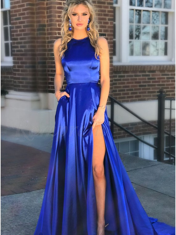 c2485e082dec A-Line Crew Sweep Train Royal Blue Prom Dress with Pockets Split ...