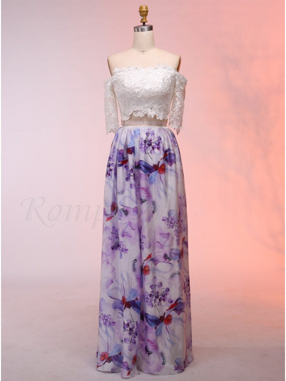 Two Piece Off-the-Shoulder Half Sleeves Floral Prom Dress with Lace