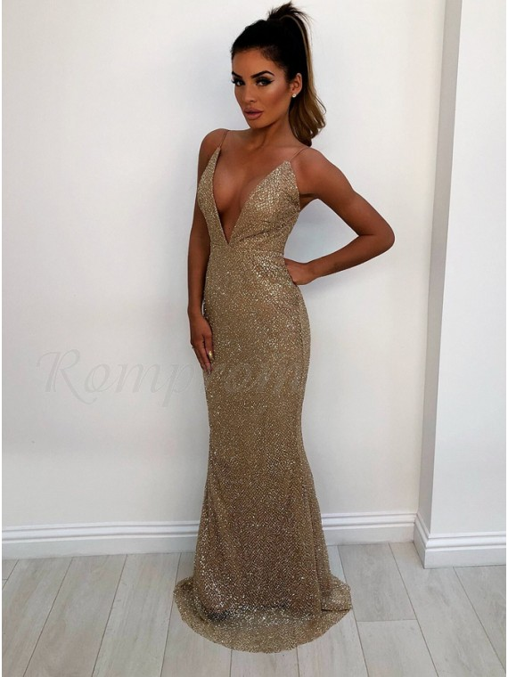 Spaghetti Straps Backless Champagne Prom Dress Sequin Mermaid Party ...