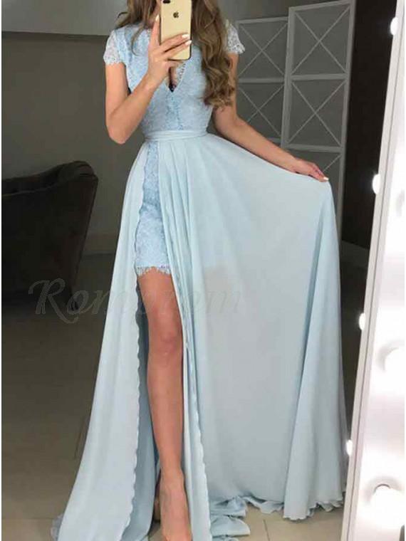Sheath V-Neck Cap Sleeves Light Blue Detachable Lace Prom Dress
