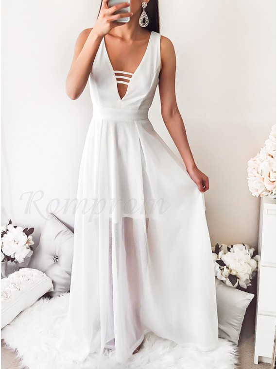 A-Line V-Neck Floor-Length White Chiffon Prom Dress with Pleats