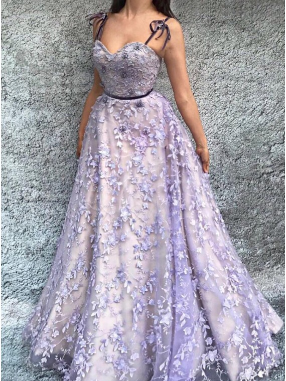 4d34af3f46 A-Line Spaghetti Straps Floor-Length Lavender Prom Dress with ...