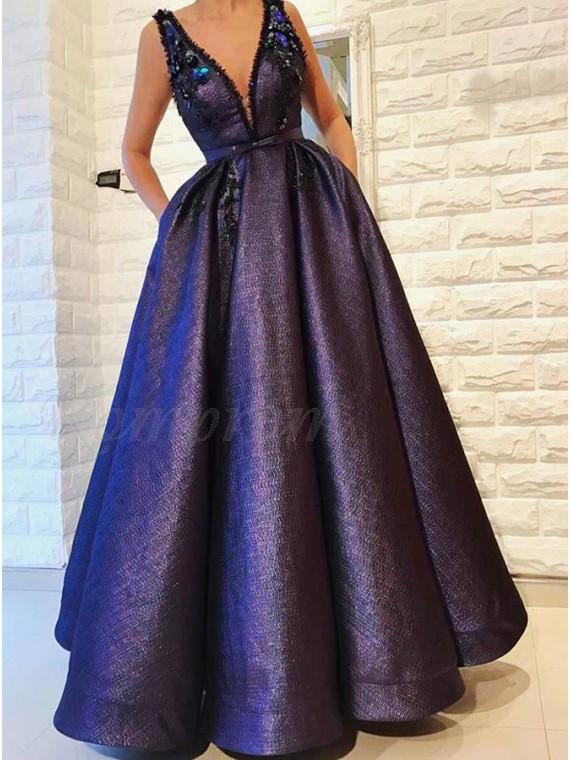A-Line V-Neck Floor-Length Purple Prom Dress with Pockets Beading