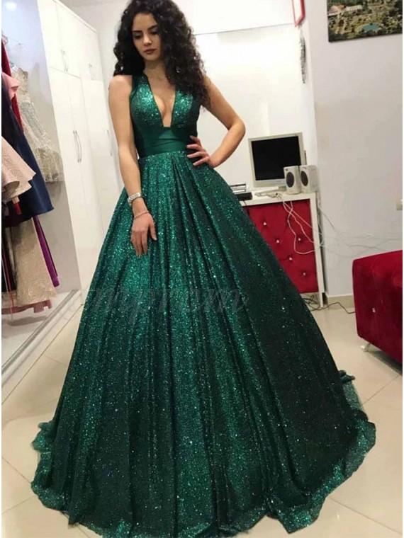 Ball Gown V-Neck Backless Long Dark Green Sequin Prom Dress