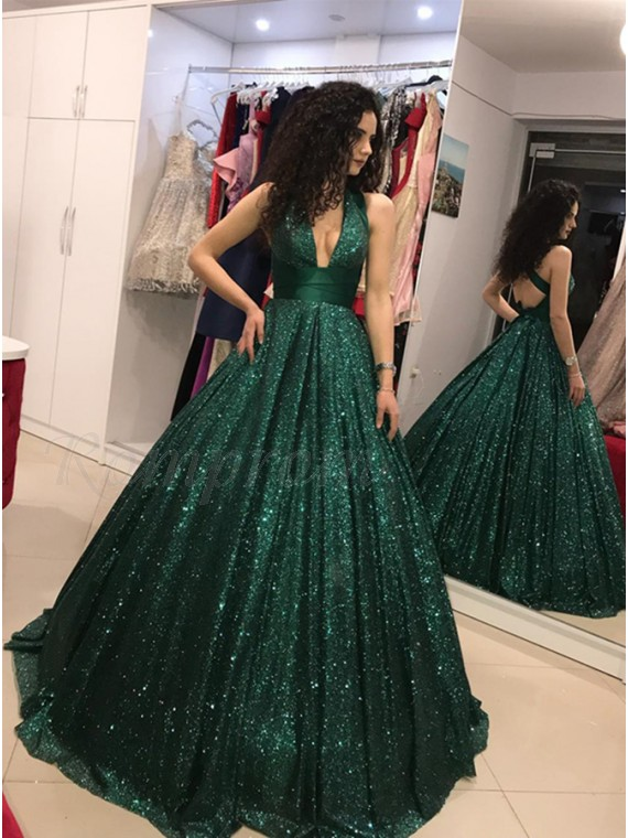 A-Line V-Neck Backless Floor-Length Dark Green Sequined Prom Dress