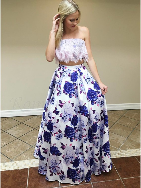 67839a201727 Two Piece Strapless Floor-Length White Printed Prom Dress with Lace ...