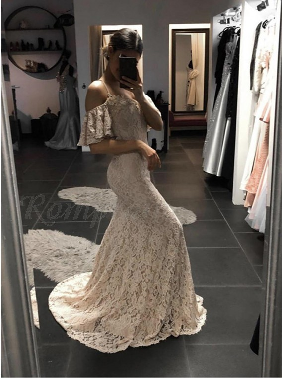 Mermaid Spaghetti Straps Sweep Train Light Champagne Lace Prom Dress