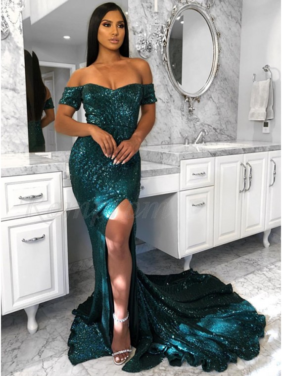 e1fd2301491 Mermaid Off-the-Shoulder Sweep Train Dark Green Prom Dress with ...