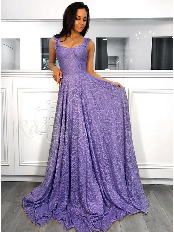 A-Line Straps Sleeveless Sweep Train Lavender Lace Prom Dress