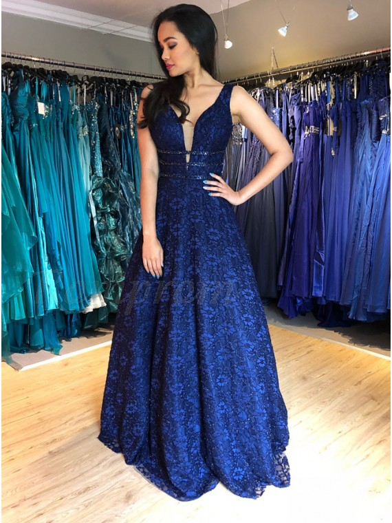A-Line V-Neck Backless Floor-Length Dark Blue Lace Prom Dress with Beading