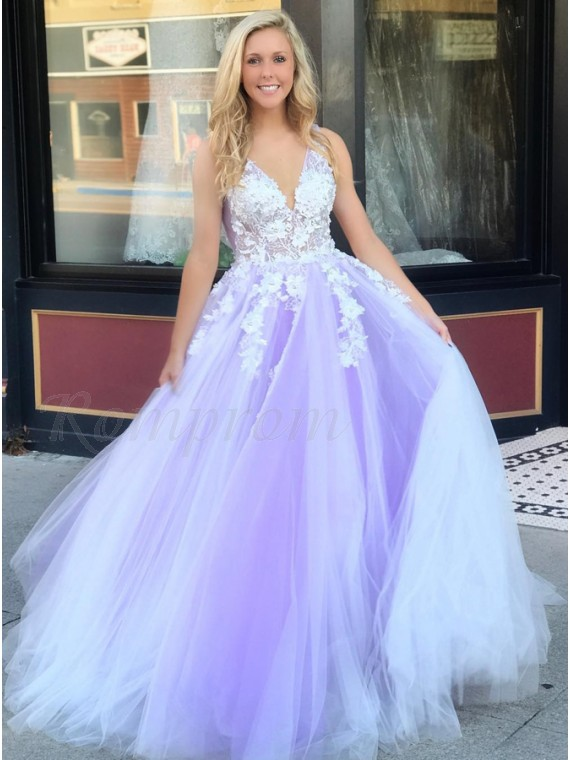 A-Line V-Neck Backless Floor-Length Lilac Prom Dress with Appliques