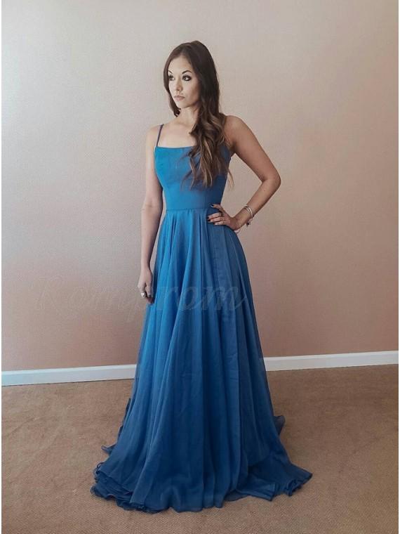 A-Line Spaghetti Straps Lace-Up Sweep Train Blue Chiffon Prom Dress