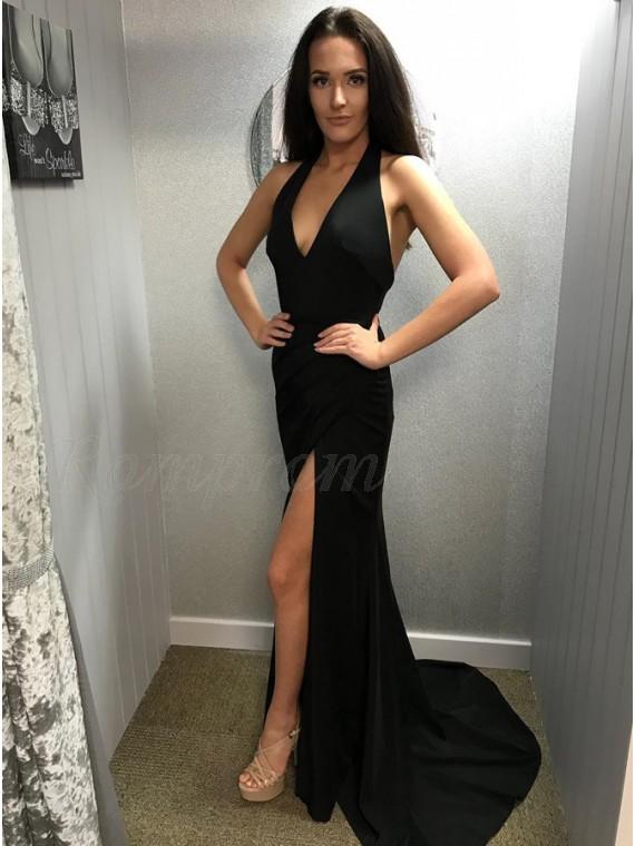 Mermaid V-Neck Backless Long Simple Black Prom Dress with Split