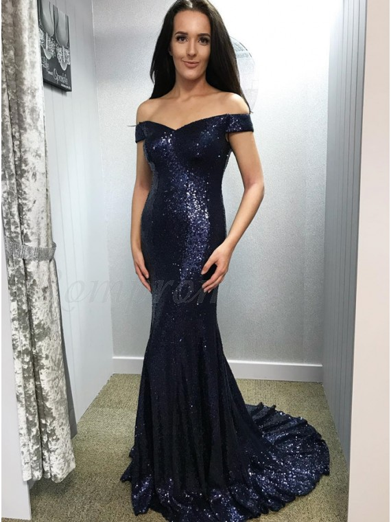 db59417ac Mermaid Long Sequined Prom Dress Sparkle Off-the-Shoulder Navy Blue ...