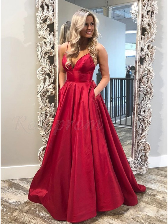 A-Line Spaghetti Straps Sweep Train Red Satin Prom Dress with Pockets