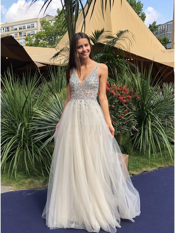 A-Line V-Neck Backless Floor-Length Ivory Prom Dress with Beading