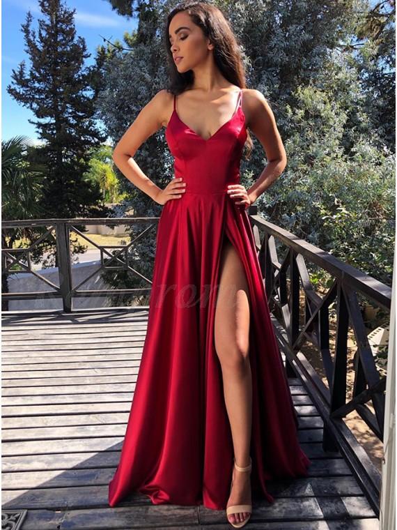Modest V-neck Sleeveless Split Front Cross Back Dark Red Long Prom Dress