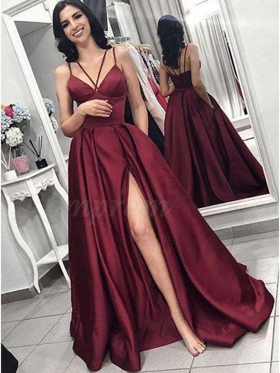 A-Line Spaghetti Straps Long Party Dress Burgundy Prom Dress with Split Pockets