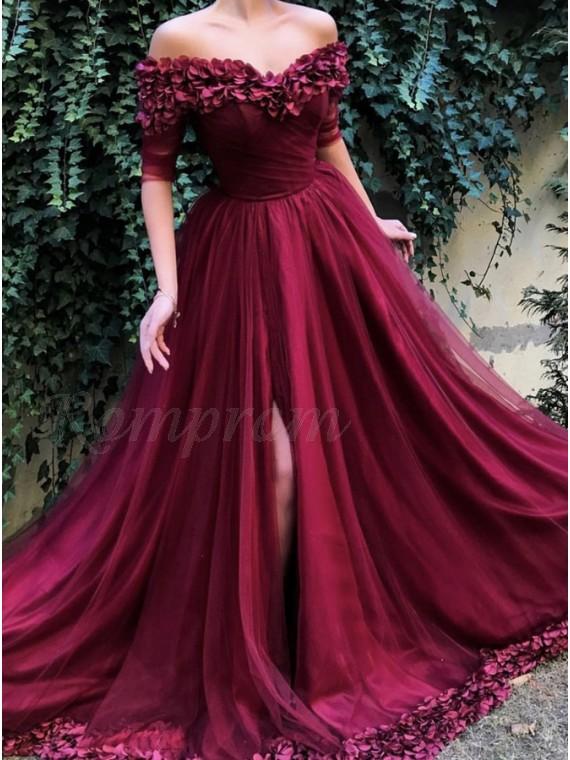 A-Line Off-the-Shoulder Half Sleeves Burgundy Long Prom Dress with Flowers Split