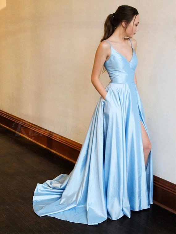 Spaghetti Straps Long Simple Prom Dress with Split Blue Party Dress