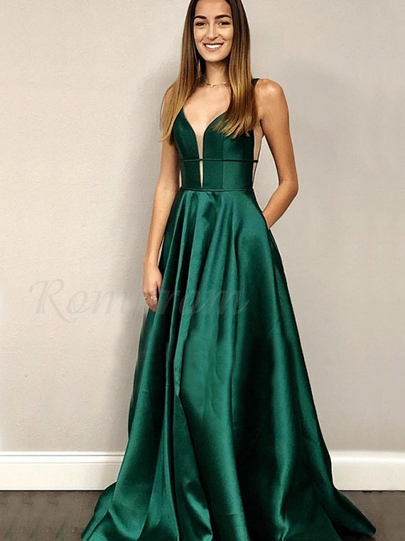 V-Neck Sleeveless Simple Prom Dress with Pockets Dark Green Prom Gown