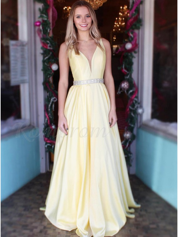 Simple V-Neck Daffodil Prom Dress with Beading Sleeveless Long Prom Gown