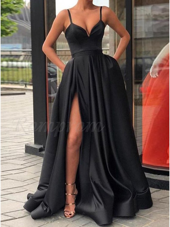 Elegant Black Prom Dress with Split Spaghetti Straps Long Party Dress