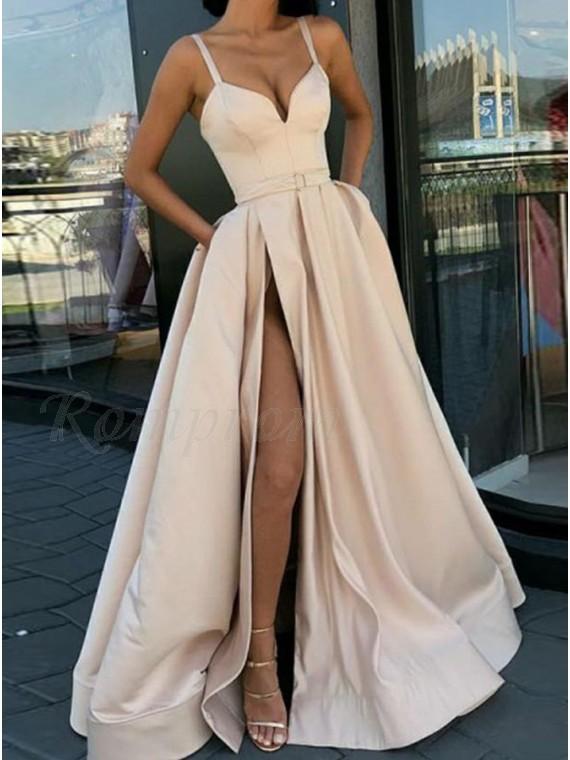 Elegant Champagne Prom Dress with Split Spaghetti Straps Long Party Dress