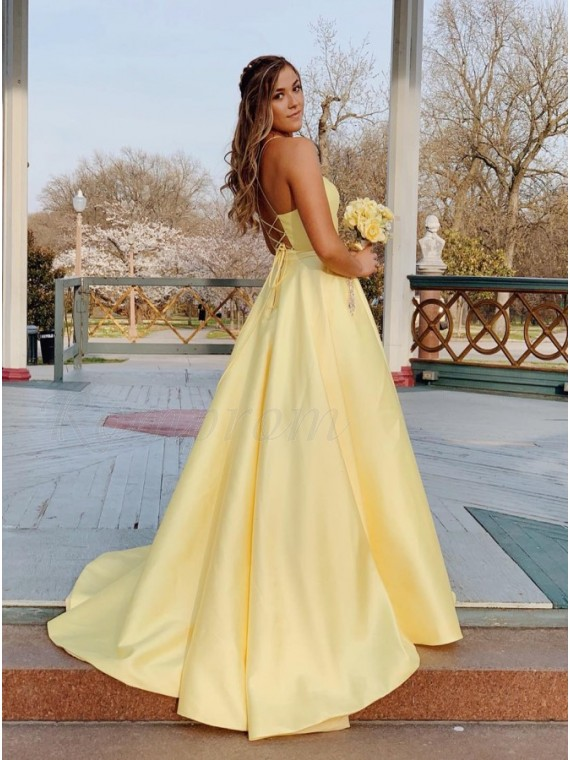 A-Line Satin Spaghetti Straps Long Yellow Prom Dress with Beading Pockets