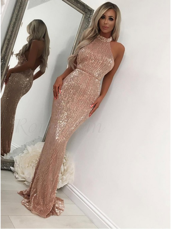 Elegant Mermaid Halter Rose Gold Prom Dress Backless Sequin Evening Dress