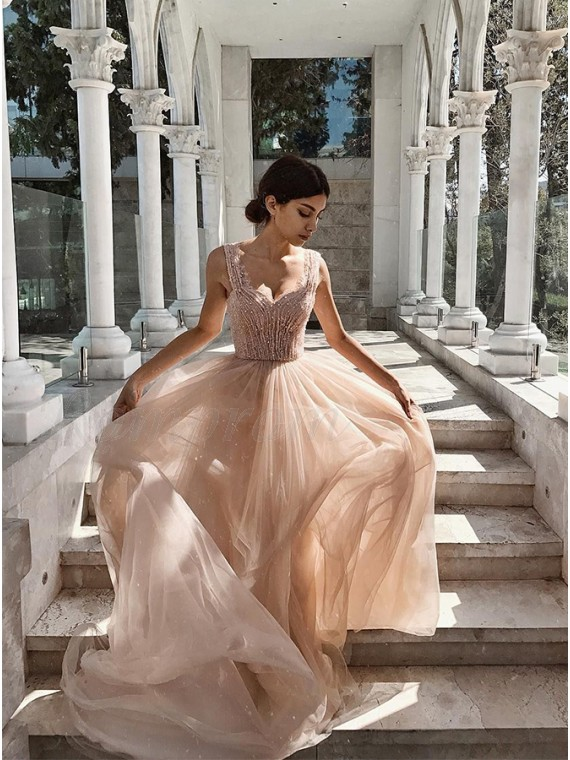 Sparkly Straps Long Prom Dress with Beading Sleeveless Blush Prom Gown