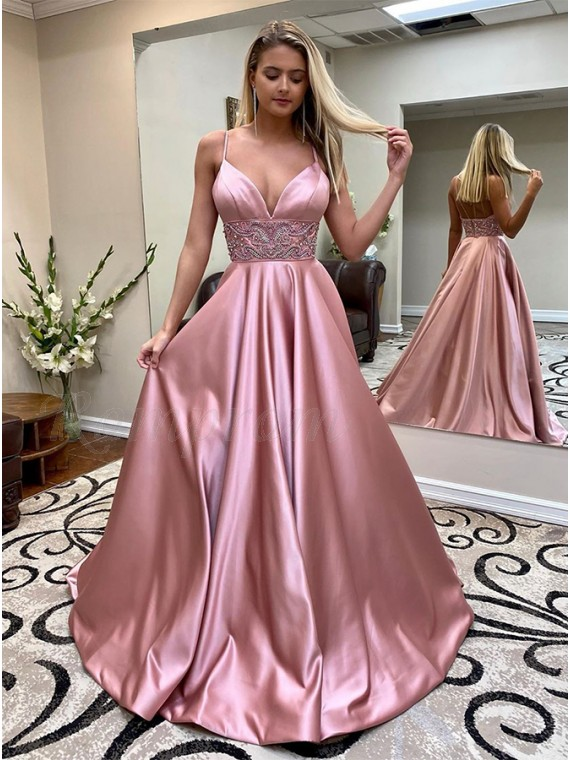 Spaghetti Straps Blush Prom Dress with Beading Long Formal Gown
