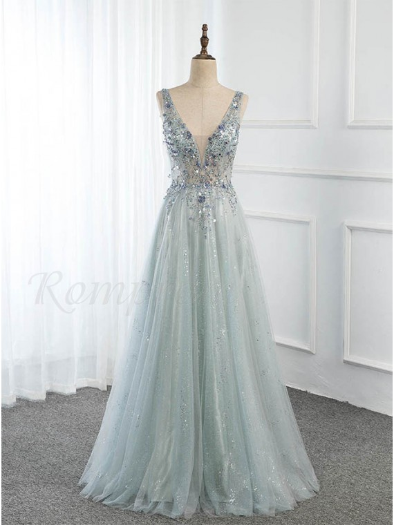Long Tulle Grey Blue Prom Dress