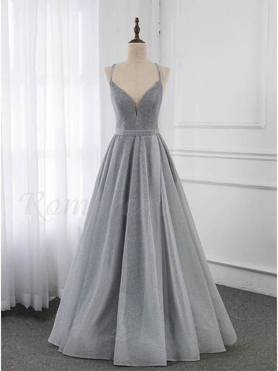 A-line Lace-up Back Grey Prom Dress