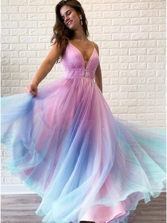A-Line Spaghetti Straps Ombre Long Junior Prom Dress