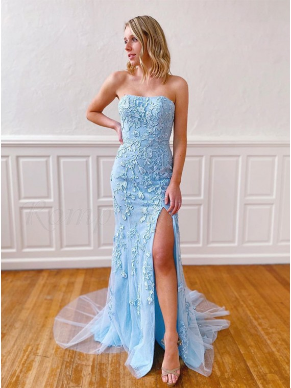 Strapless Long Mermaid Formal Gown Light Blue Prom Dress with Slit