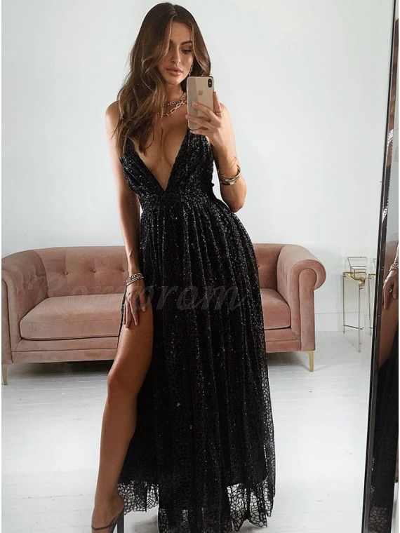 A-Line Black Prom Dress with Split Backless Long Party Dress