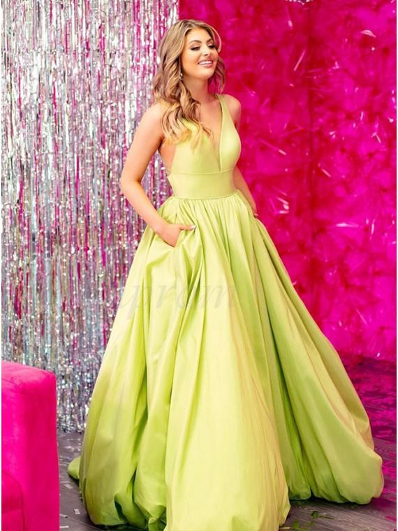 Satin Yellow Long Prom Dress