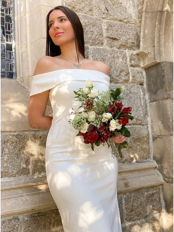 Sheath White Satin Ankle-Length Wedding Dress with Sleeveless