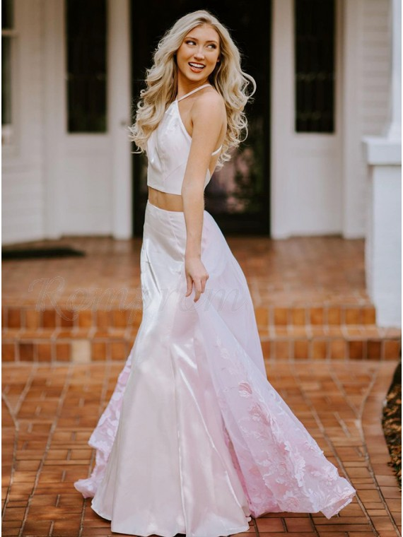 Pink Long Satin Prom Dress