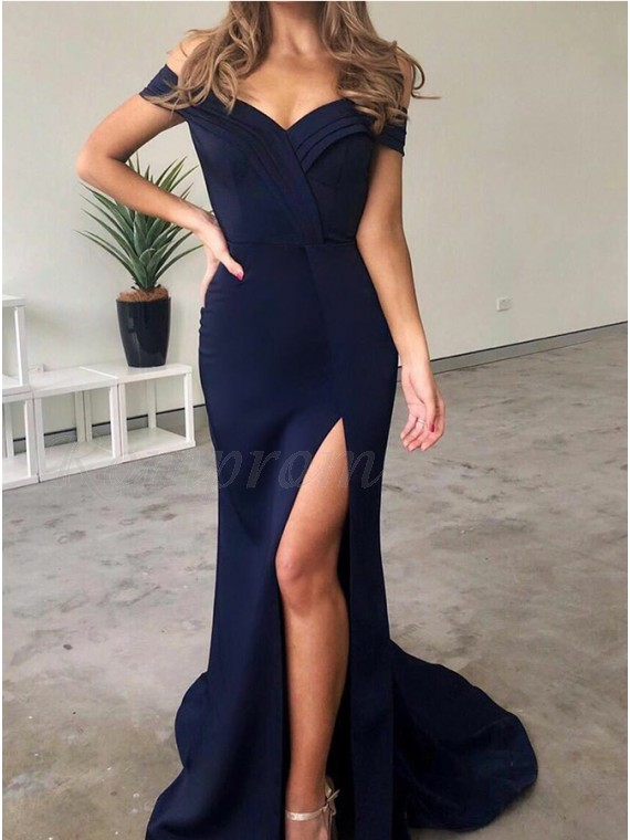 Mermaid Off-the-Shoulder Slit Leg Navy Blue Prom Dress