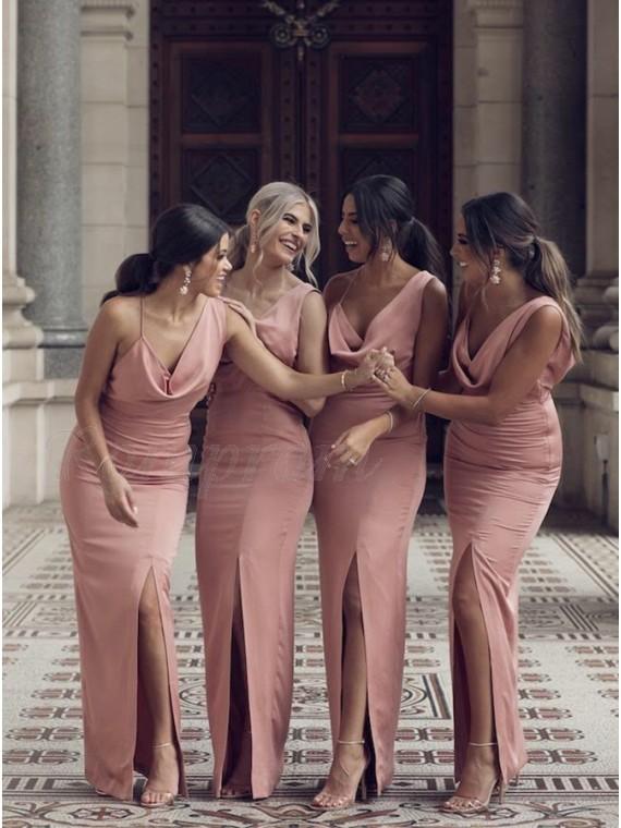 Sheath Slit Leg Sleeveless Long V-Neck Pink Backless Bridesmaid Dress