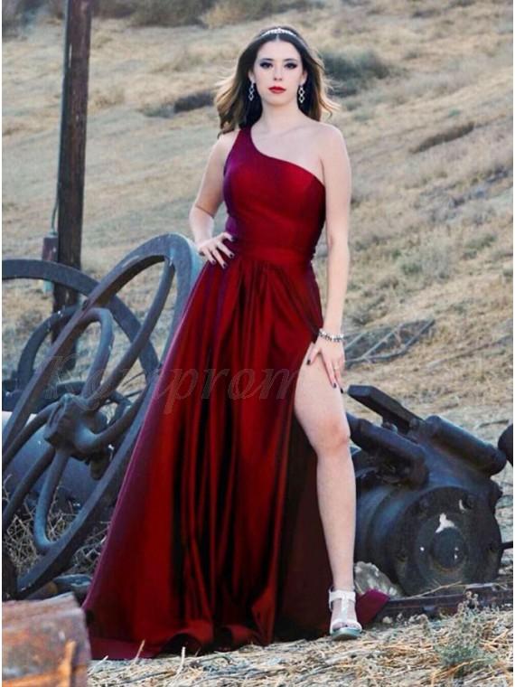 Burgundy Satin Long Prom Dress