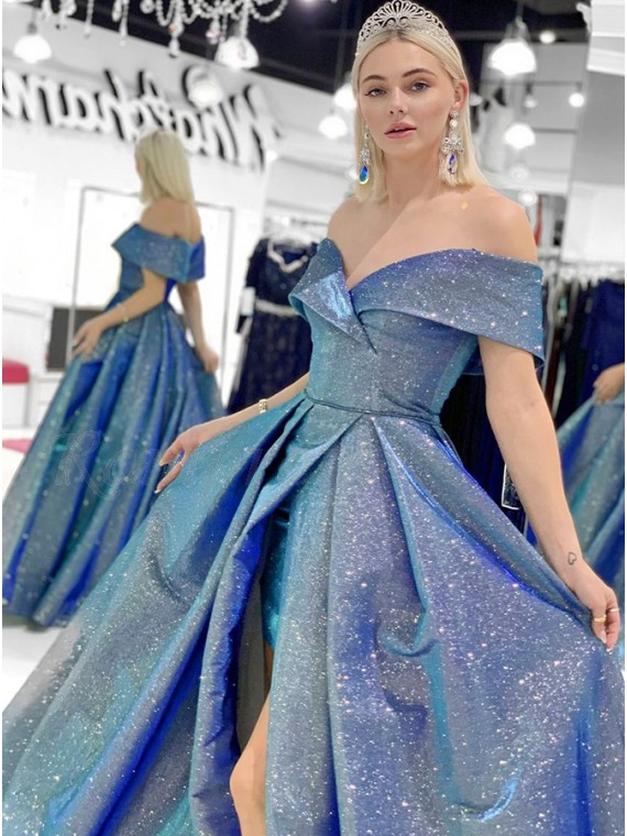 Blue Sequins Long Prom Dress