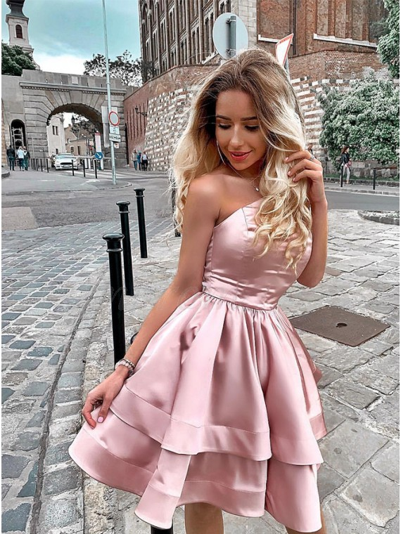 Modest A-Line Short Strapless Homecoming Dress Pink Party Dress